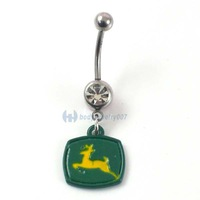 fashion designed green square horse  style oil navel ring piercing body jewelry JF04-022
