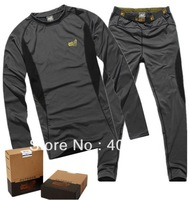Free shipping 2013 mens long Johns polartec full suit quick dry thermal underwear one set of men's fleece tops and pants gray