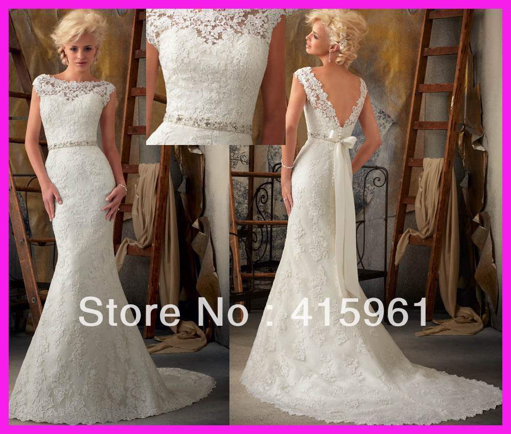 Vintage Lace Wedding Dresses Low Back - Amore Wedding Dresses