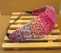 12pcs/lot, Colorful wool crochet elastic headband wool hairband AJB-0311, free shipping(brown, grey, red, fushcia, burgundy)