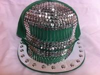 men unisex baseball cap ladygaga New arrival punk rivet hiphop hip-hop baseball flat brim hat s10 spike hat