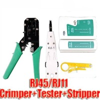 Wholesale  Free Shipping New Network LAN Cable Crimper Tester 50 RJ45 Striper Impact