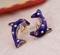 Min.order is $15 Free Shipping Women's Stud Earring Lovely Dolphin Asymmetrical Earring E746