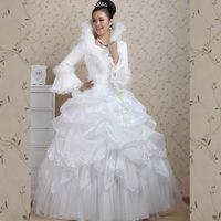 Bride winter plus cotton long-sleeve wool stand collar winter wedding dress thermal sweet wedding dress formal dress hs257