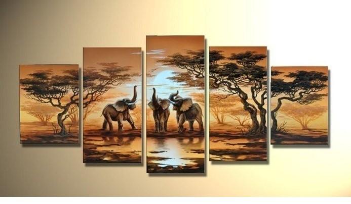 Hand Painted Grassland African Elephant Home Decoration Modern Landscape Oil