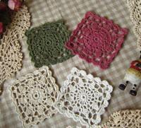 wholesale hand made crochet cup mat, cotton colorful Doily, cup coaster placemat 10cm crochet applique 20PCS/LOT
