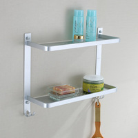 Free shipping aluminum double layer shelf 2 tier shower caddy shower storage rack holder with hook for bathroom accessories