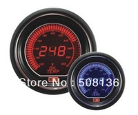 Free shipping 60mm LCD two color gauge Digital Auto Gauge  RED/BLUE Light SMOKE LENS oil temp with sensors Meter (F) LCD6003