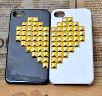 2pcs Handmade Love heart  lovely cell phone lovers phone case New 3D mobile phone hand Case Cover for iphone4/4s