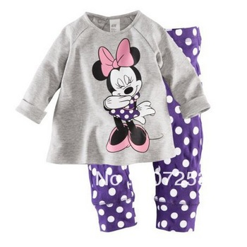 new,Free Shipping  6 Sets/Lot Baby Kids Pajamas Gilrs Clothes Set Children Sleepwear Cartoon pajamas 2-7 years baby set