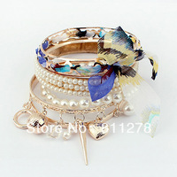 Min. order is $10(mix) 895 1PCS Multilayer woven owl open bracelet leopard heart peace fashion  bracelet wholesale