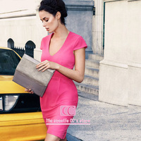Dresses evening sexy rose high elastic short sleeve v-neck knitted vintage knee-length (XS/S/M/L/XL/XXL) women's one-piece dress