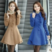 [F-579]Free Shipping New Korean version of a long paragraph fungus edge wool coat slim thin wool coat