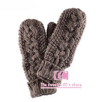 Free shipping gloves autumn and winter thickening knitted fashion wool women's mitten(brown / white)