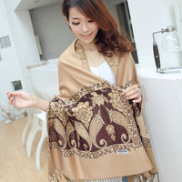 2013 autumn and winter vintage ultra long scarf women's fluid cape florid