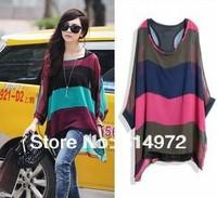 Women's Long Loose Batwing Sleeve Shirt Stripe chiffon Blouses +free shipping