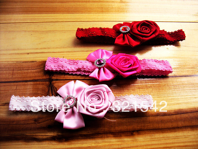 Free shipping! new arrival Hot sale 30pcs/lot bow with rosette children infant baby hair hairband accessories headbands(China (Mainland))
