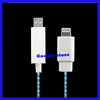 1pcs+free shipping New Visible EL Flash Light Sync usb Charger Data Cable for iPhone 5 5G White/Blue(China (Mainland))