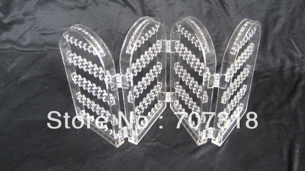 NEW wholesale clear acrylic 4-panel earring folding hinged screen for 128 pairs earrings(China (Mainland))