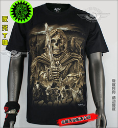 Luminous , punk , goths , skull , Halley , men and women t-shirt gr331(China (Mainland))