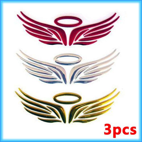 EASTSUN 3pcs/lot Chrome PVC 3D Big Wing Angel Sticker for ALL Car Logo Badge Emblem Decal Auto Car Motor Vehicle free shipping(China (Mainland))