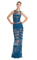 2013 New Arrival Elegant high neck Long Sleeve Long Blue Lace transparent Celebrity Dresses
