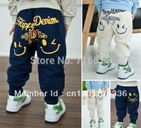 5pcs-super thick fleeces 2 color smiling face children warm trousers kids sweat pants