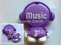 Purple cartoon MUSIC usb 2.0 flash high quality four capacity 4.8.16.32 GB