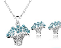 Free Shipping Retail Fashion blue Crystal silver Plated Earrings NECKLACE flower basket Jewelry Set with full rhinestone