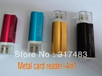 hot  metal card reader 4 in 1 ,support:Micro MS(M2),,SD/MMC/SDHC/DV,MS Duo/MS PRO Duo,,Micro SD/T-flash,free shipping5 0pcs/lot