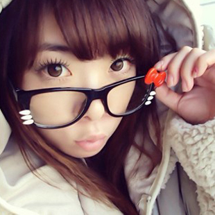 Magazine hello kitty glasses frame handmade bow cat the trend of the mirror(China (Mainland))
