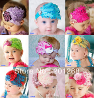 Retail  baby headband hairbow feather headband christmas headwear CPAM