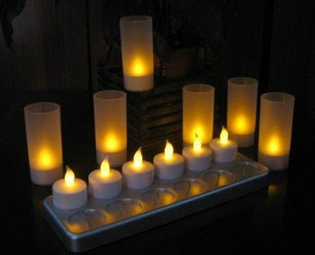 Free shipping 12pcs/set rechargeable led candle light Electronic candle with frosted holder