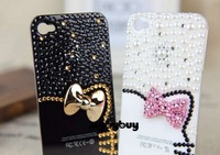 3D Bow Kitty Pearl Bling Diamond Case For iPhone 5 5G. w/LCD Screen Protector