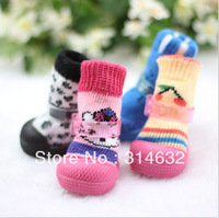 Wholesale Hello Kitty soft lovable anti-de thicker  pet socks shoes,Dog Teddy shoes,Pet cartoon shoes socks 4color 4pc/lot=1pair