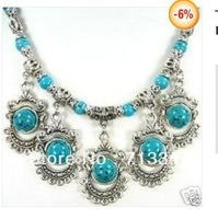 Tibet Ethnic Jewellery tibet Silver Turquoise Necklace
