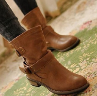 FREE SHIPPING Boots female spring and autumn 2012 fashion martin boots vintage boots flat buckle motorcycle boots drop shipment