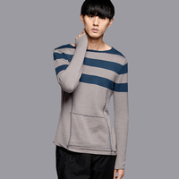 2013 new fashion men&amp;#39;s long sleeve woollen sweater casual o-neck warm winter clothing patchwork high quality acrylic+cotton