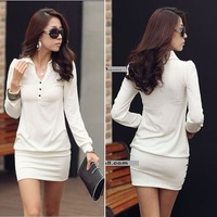 On sale Free shipping Igo 2012 spring women's slim formal long-sleeve slim hip medium-long spring one-piece dress apparel