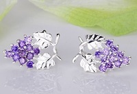 wholesale Free shipping 925 STERLING SILVER grape silver earring/fashion jewelry GEMSTONE Stud earrings
