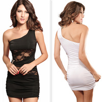 1Piece  Sexy Oblique Double-C Lace One-Shoulder Sleeveless Dress,Black/White Colors,Free Size, 0.15Kg/Piece,FWO2565