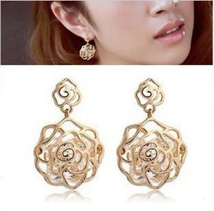 Min.order is $10(mix order)  Fashion Korean Hellow Out Rose Zircon Drop Earrings