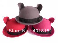 Free Shipping Women's Wool felt Fedora With Bear- Ear Design on the top ,Cute Wool Felt Hat, Cat-World Wool hat