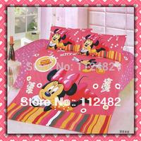 3pcs Bedding Set Cartoon Minnie mouse Cotton children Kid Bedding Free Shipping