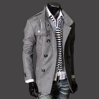 Wholesale Korea fashion double breasted stand collar epaulette trench coat Men jacket Black Grey 22piece free shipping by Fedex