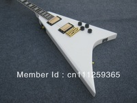 China guitar factory! jacksn guitar  Brand snow white setting in joined body V shape  electric guitar ! free shipping