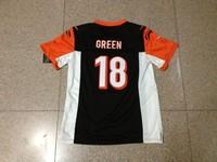 HOT youth kids boys New Season New style American football Jersey ELITE 18 Green AJ #18 black color home  jerseys