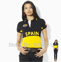 Free Shipping POLO Shirt ,100% cotton casual short sleeve collar shirt, SPAIN Countries style,Wholesale Women's Shirts