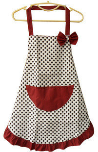 Lady Princess Style Black Polka Frill Kitchen /Cooking/Baking Cotton Apron