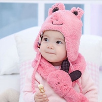 2012 Hot Selling Warm Winter Kid Hat and Scarf Set Cute Frog and Rabbit Design Cap and Scarf 4 Colors Free Shipping